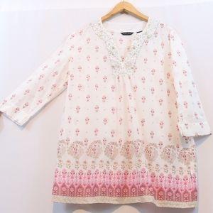 NY & Co Cotton Printed Beaded Kurta Tunic Top